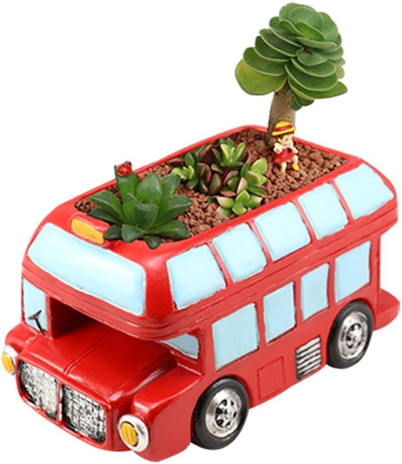 Simulation Personalized Bus Flower Pot, Ruzihui Garden Decoration Creative Succulent Resin Metal Bus Flowerpot Bonsai Ornament Summer Garden Themed Party Decor for Home Yard Lawn (A)
