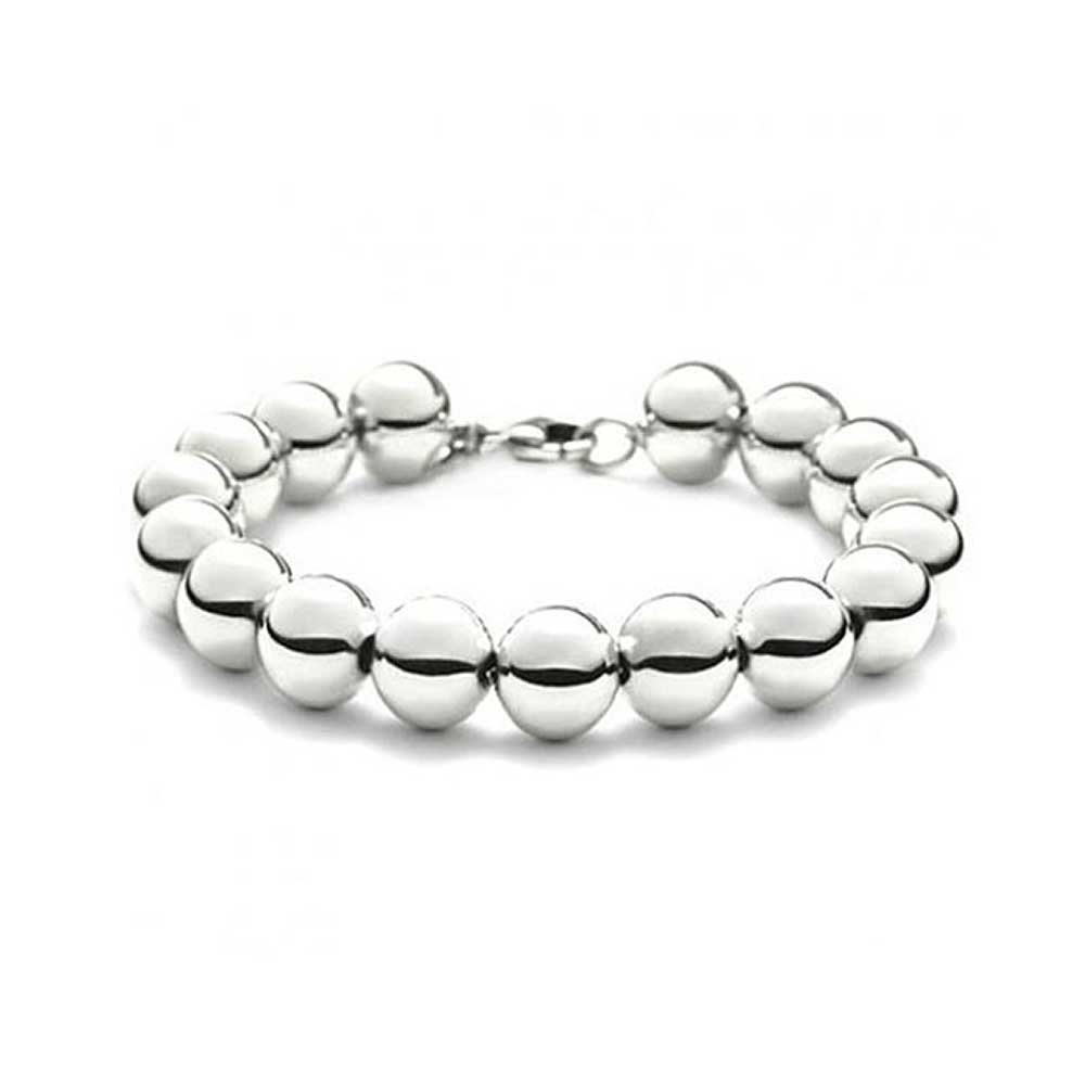 Beaded Bracelet with Round 10mm Ball Beads Sterling Silver Bling Jewelry AF-BEAD10mm-8