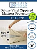 Deluxe Vinyl Zippered Mattress Protector Cover, Extra Heavy, Bed Bugs - Dustmites Shield, Waterproof Protector, Hypoallergenic, 78'' x 54'' Full