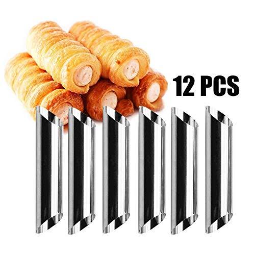 Herramientas para Hornear Molde for Hornear 12PCS Tubos de Cannoli en Forma cilíndrica Tornillo Molde de Croissant for…