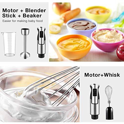 Powerful 500 Watt Immersion Blender Setting 6-Speed Multi-Purpose 4-in-1 Hand Blender Includes Stick Blender, 500ml Food Processor, 600ml Mixing Beaker and Whisk