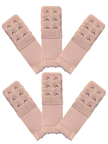 eBoot 6 Pieces Women's Bra Extender Bra Extension Strap (Skin Color, 3 Rows 2 Hooks) ()