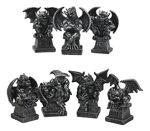 Ebros Allegorical Seven Deadly Sins Gargoyle Figurine Set of 7 Cardinal Sins Pride Sloth Gluttony Envy Greed Anger And Lust Gargoyles Sculptural Decor (Concrete Statues Gargoyle Large)