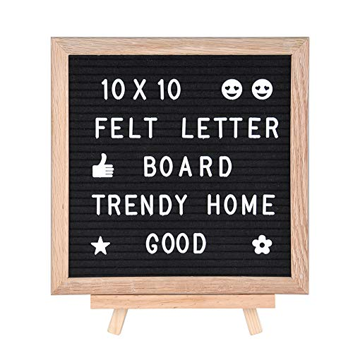 Felt Letter Board 10 X 10, Kingtoys Changeable Letter Board, Message Board, Word Board with 322 Letters, Numbers, Symbols and Oak Wood Stand