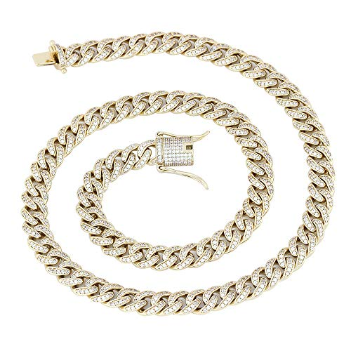 (GOLD IDEA JEWELRY 8mm Mens Iced Out Hip Hop CZ Miami Cuban Link Chain 18-24 Inches Miami Cuban Link Chain (20, 14k-Gold-Plated))