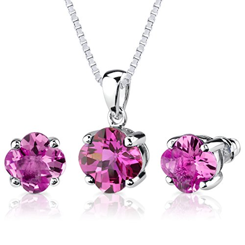 - Created Pink Sapphire Pendant Earrings Set Sterling Silver 10.25 Carats Lily Cut
