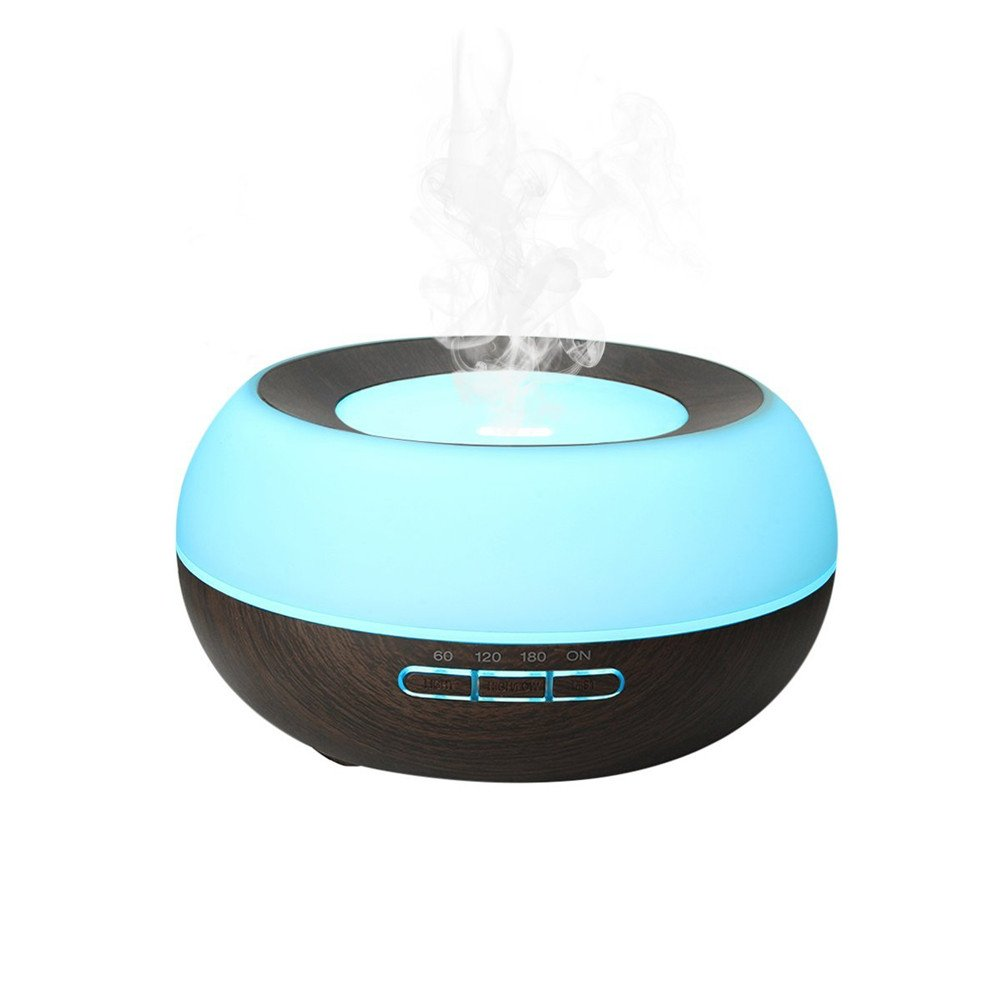 TRADE Help You Keep Air Moist Big Capacity 300ML Rotund Black Wood Grain Colorful Changing Adjustable Mist Mode and 4 Timer Settings Ultrasonic Atomization Scented Oil Diffuse Humidifier by TRADE® (Image #8)