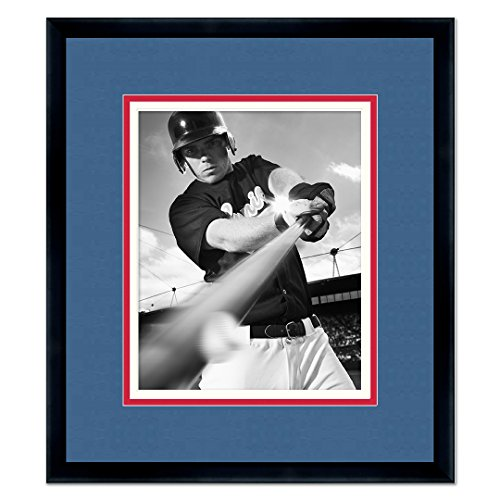 - Poster Palooza Black Wood Frame with a Triple Mat for 8x10 Photos - Navy Blue, Scarlet Red, White
