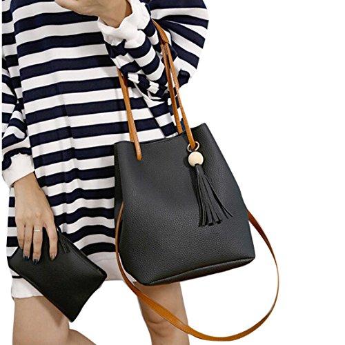 Egmy 2 piece Set Womens Girl's Shoulder Bag Bucket Handbag Leather Tassels Retro Satchel Clutch Bag Large (Black)