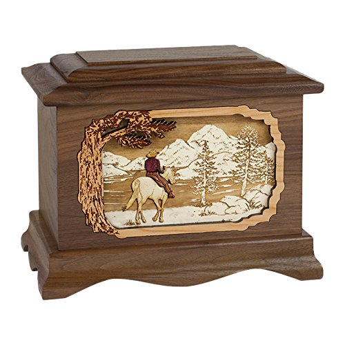 Wood Cremation Urn - Walnut Cowboy by the River Ambassador