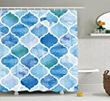 Ambesonne Moroccan Decor Collection, Curvy Geometric Damask Patterns in Watercolor Effect Creative Timeless Home Art, Polyester Fabric Bathroom Shower Curtain, 75 Inches Long, Blue White