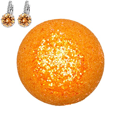 Addicted to Soap - Orange Earrings Jewelry Bath Bomb | Ultra Luxurious - Extra Large 6oz Bath Bomb with STERLING SILVER Surprise Inside - Organic & Sensual Relaxation Handmade Love Texas