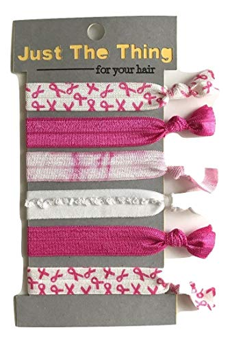 Elastic Hair Tie Breast Cancer Awareness Collection - Set of 6 Bands, Pink Ribbon Support ()