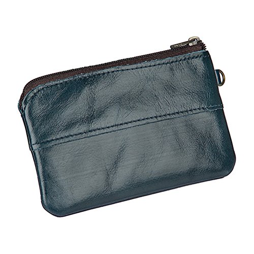 Christmas Gift for Men Leather Coin Purse Pouch Slim Change Purse Wallet By Fmeida(Blue) (Make Change Purse)