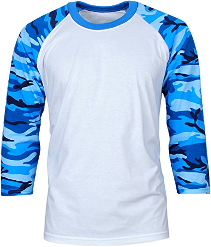 (Angel Cola Men's Cotton Raglan 3/4 Sleeve Baseball T-Shirt Jersey Camo Blu S)