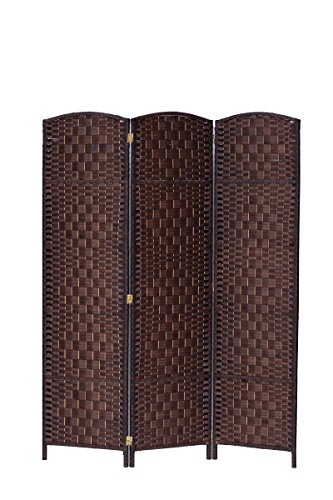 3 Panel Diamond Room Divider - 3 Panel Diamond Weave Fiber Room Divider, Brown Color Legacy Décor