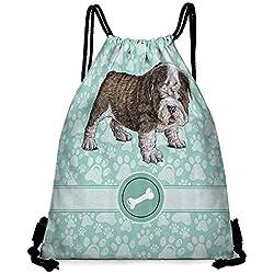 "Lady backpack Dog Animal Decoration Bulldog Apartment Decor Adorable Purebred Cute Furry English Puppy Doggy Friendly Pet Owner Hiking gym swimming travel beach W14""x L18"" Mint Green Khaki"