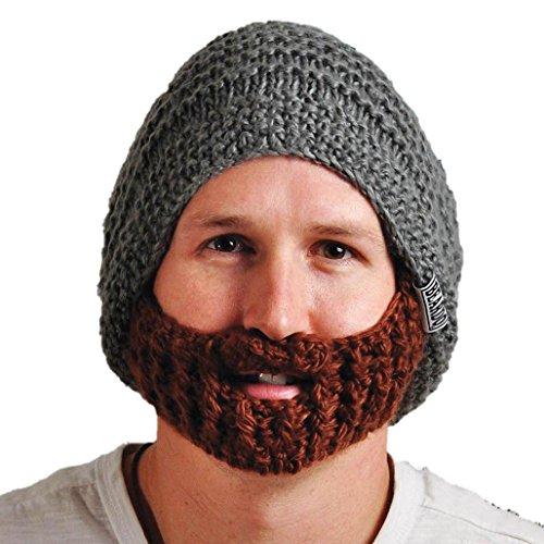 Beardo Original Detachable Beard Hat, Gray Brown - Mountain Man Beard Costume