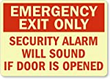 Emergency Exit Only Security Alarm Will Sound If Door Is Opened Sign, 14'' x 10''