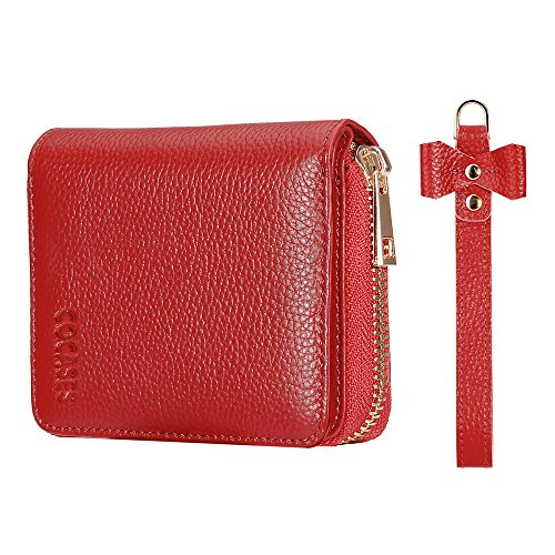 Women leather Wallet, COCASES RFID Blocking Genuine Leather Zipper Arround Snap Bifold Attachable Wrist Strap (Red)