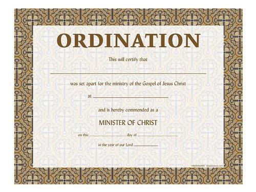 Certificate of Ordination W/Cross - Certificate Ordination
