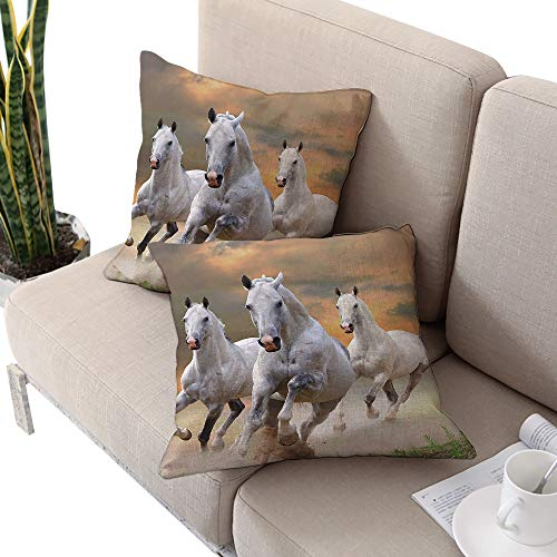 Michaeal Horses Square futon Cushion Cover,Stallion Horses Running on a Mystic Sky Background Equestrian Male Champions Print White Orange W18 xL18 2pcs Cushion Cases Pillowcases for Sofa Bedroom -
