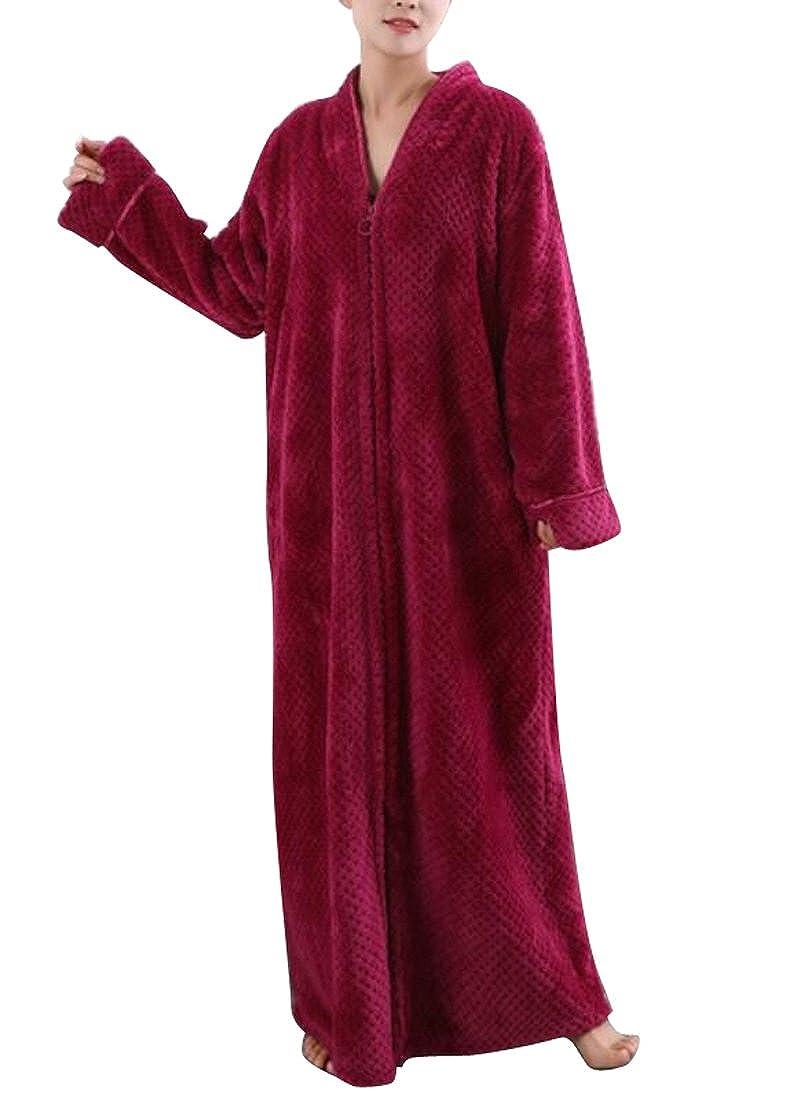 SYTX Womens Warm Soft Fleece Flannel Front Zip Sleepwear Bathrobe Homewear