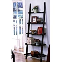 Unique 72 High LEANING LADDER STYLE MAGAZINE / BOOK SHELF on Black Finish with Mini Tool Box (cog)