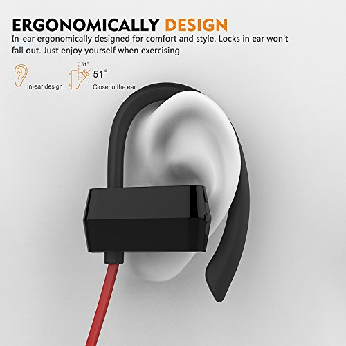 Anlo Bluetooth Headphones Wireless In Ear Earbuds V4.1 Stereo Noise Isolating Sports Sweatproof Headset with Mic, Premium Bass Sound - Red