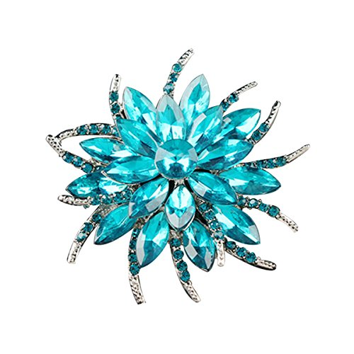 Ailer Fashionable Brooch Pins for Women Wedding Bouquet Flower Created Crystal Brooch-Lake Blue ()