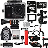 Vivitar DVR914HD 1440p HD Wi-Fi Waterproof Action Video Camera Camcorder (Black) + Remote, Action Mounts + 32GB + Power Hand Grip + Clamp Arm + Backpack Kit