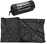 BLACK 86''L x 58''W G.I Style Poncho Liner Blanket Sleeping Bag Liner Rip-Stop Nylon w/ Pouch