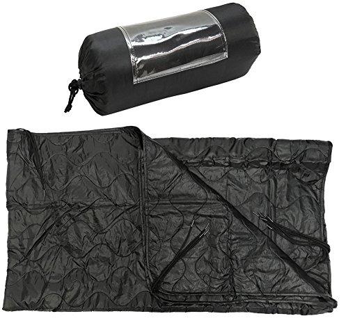 ProlineMax Black 86''L x 58''W G.I Style Poncho Liner Blanket Sleeping Bag Liner Rip-Stop Nylon w/Pouch