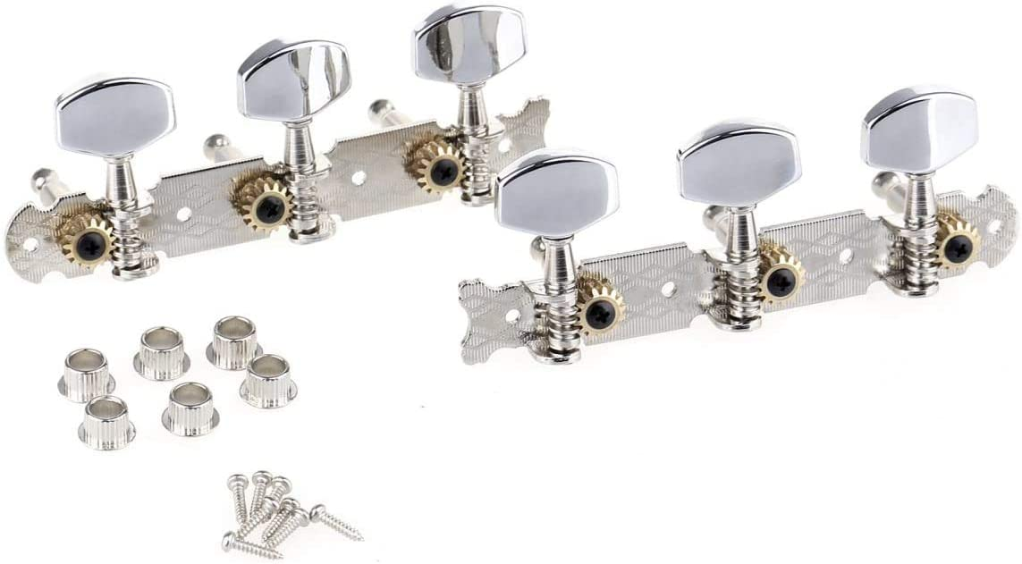 Nickel with Chrome Button Pro 3 on a Plate Acoustic Guitar String Machine Heads 3R3L Tuning Pegs Keys Tuners Set