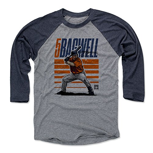 500 LEVEL Jeff Bagwell Baseball Tee Shirt (XXX-Large, Navy/Heather Gray) - Houston Astros Raglan Tee - Jeff Bagwell Starter O ()