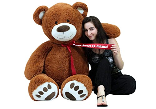 Big Plush Personalized 5 Foot Teddy Bear Soft Life Size Animal with Bigfoot Paws - Customized with Your Message (Message Birthday Bear)