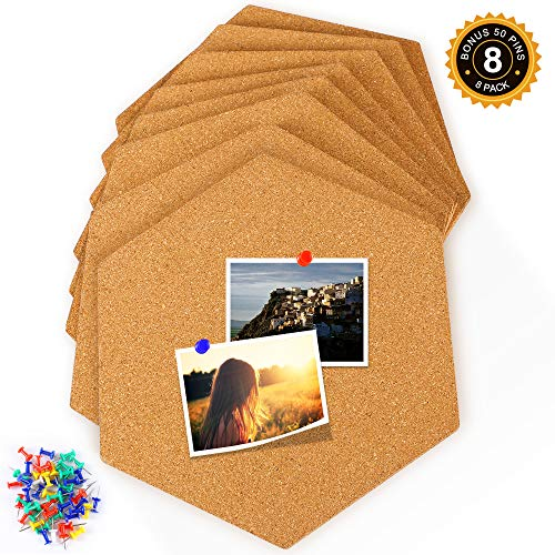 Famistar Hexagon Cork Board Tiles 8 Pack with Full Sticky Back,Mini Wall Bulletin Boards,Pin Board-Decoration for Pictures,Photos,Notes,Goals,Drawing,Painting-Bonus 50 Pins by Famistar