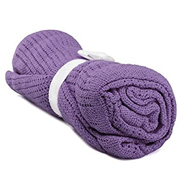 100/% Cotton Baby Infant Cellular Soft Blanket Pram Cot Bed Mosses Basket Crib Color:Light purple SODIAL R