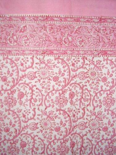 Rajasthan Floral Block Print Curtain Drape Panel Cotton 46″ x 88″ Pink