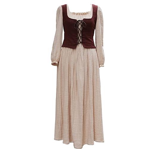 Cosplayitem Donna Ragazza Abito Medioevale Vestito dell'annata del Abito Casuale del villaggio Marro...