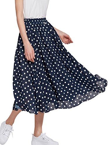 Women's Long Dots Print Maxi Chiffon Polka Long Vintage Skirts (C002Black-M)