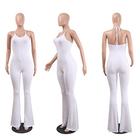 0684a52a5b0e Amazon.com  Women s Sexy Halter Bodycon Jumpsuits Sleeveless Solid Wide Leg  Long Pants (for Tall Ladies)  Clothing