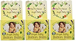 Earth Mama Angel Baby Bottom Balm Zinc & Lanolin Free Calendula Herbal Diaper Cream, 2 Fluid Ounce (Pack of 3)