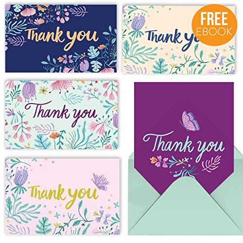 Thank You Cards – 50 Cute Floral Thank You Notes with Gummed Envelopes. Perfect for Bridal or Baby Shower, Graduation, Wedding, Kids, Employee and Business. Express Your Gratitude with Class & Style.