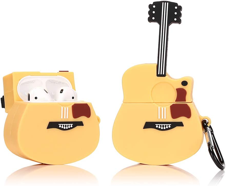 LEWOTE Silicone Case Compatible for Apple Airpods 1&2 Funny Cover[Retro Designed][Best Gift for Kids Boys Girls] (Guitar)