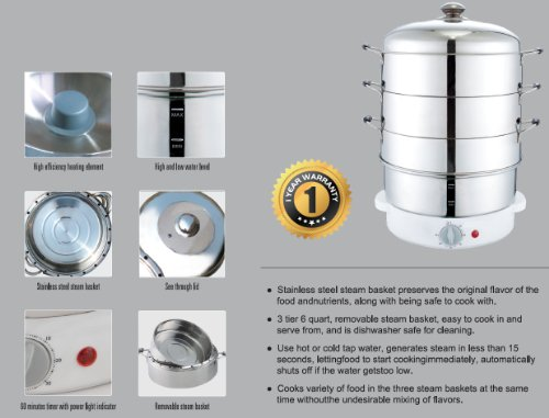 Stainless Steel Electric Vegetable Steamer ~ Secura tier quart stainless steel electric food