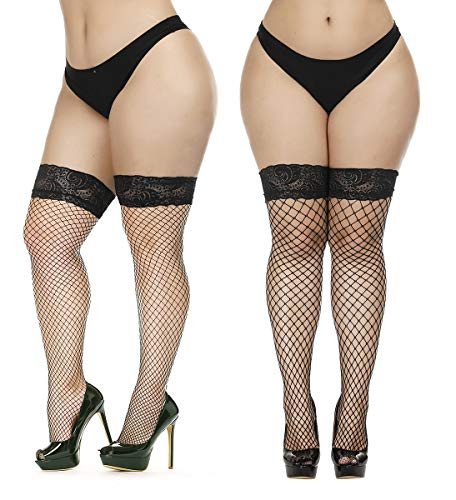 Diamond Fishnet Thigh High - CURRMIEGO Women's Fishnet Thigh Highs Plus Size Stay-up Stocking with Lace top (2 Pairs, AssortedC, Plus Size)