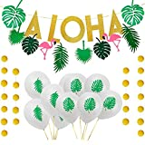 Aisamco Hawaiian Aloha Party Decorations Large Gold Glittery Aloha Banner with 10 Pcs Tropical Palm Leaf Theme Balloons,1 Pcs Flamingo Banner For Aloha Theme Party Luau Party Supplies Favors