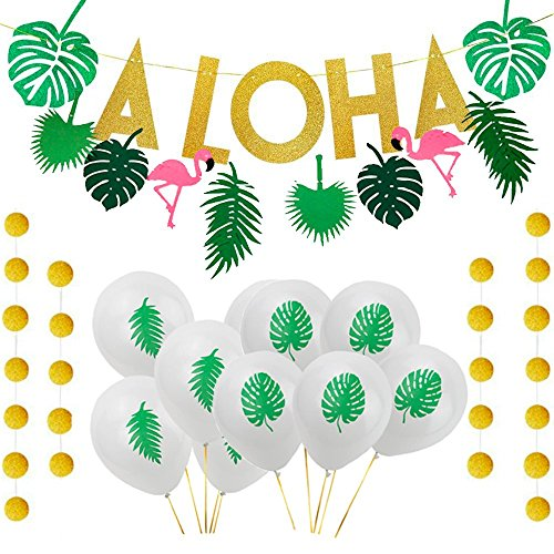 Aisamco Hawaiian Aloha Party Decorations Large Gold Glittery Aloha Banner with 10 Pcs Tropical Palm Leaf Theme Balloons,1 Pcs Flamingo Banner For Aloha Theme Party Luau Party Supplies Favors]()