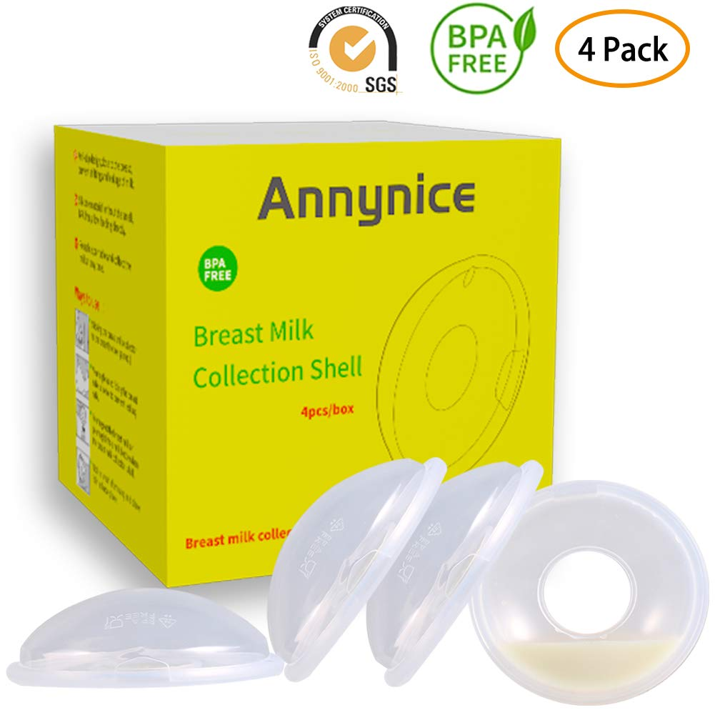 Breast Shells,Milk Saver,Nipple Shells - 4 Pack,Breastmilk Collector,Nursing Cups,Protect Sore Nipples for Breastfeeding,BPA-Free Flexible Food Grade Silicone by Annynice